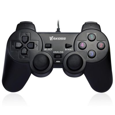 Gamepad VAKOSS, USB Double Shock, 10 buttons, 2 joystick, Black